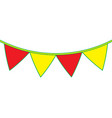 yellow and red garland pennant decoration festive vector image