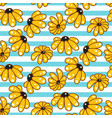 yellow chamomile striped blue seamless pattern vector image