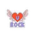 U Rock Winged Heart Bright Hipster Sticker vector image