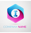 Letter I logo symbol in the colorful hexagonal on vector image