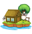 An island with a native house and two sheeps vector image