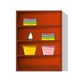 Linen cupboard wardrobe with clothes vector image