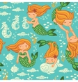 Funny color seamless pattern with mermaids vector image