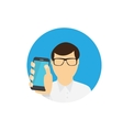 A Man Holding a Mobile Phone Communication vector image vector image