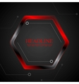 Black and red metal hexagon tech drawing vector image