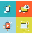 Flat mobile devices set Computer laptop tablet vector image