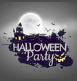 halloween party background with castle and moon vector image
