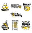 Hand-drawn bee hive honey jar and dipper logo vector image