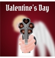 Happy Valentines Day Cupid carries a gun vector image