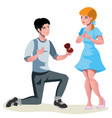 man with ring makes an offer to a woman to marry vector image