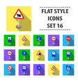 road signs set icons in flat style big collection vector image