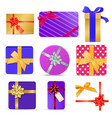 set of gift boxes with ribbons and bows vector image