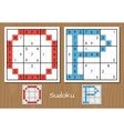 Sudoku set with answers O P letters vector image