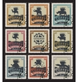 postage stamps with coffee beans vector image