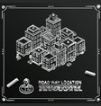 chalkboard sketch road in the cityscape isometric vector image