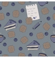 Seamless pattern with cakes blueberry and coffee vector image