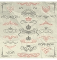 Vintage Hand Drawn Swirls and Crowns on Crumpled vector image