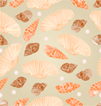 Seamless texture seashells and pearls vector image