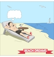 Doodle man dreams at the beach vector image