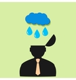Icon man and rain clouds vector image