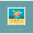 Kite flat stamp vector image