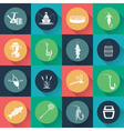 set of icons on fishing theme in flat design vector image