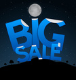 Big Sale Title on Dark Landscape with Moon vector image vector image