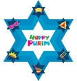 Happy Purim David star with objects of jewish vector image vector image