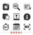 photo camera icon manual focus and macro signs vector image
