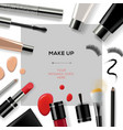 Makeup template with collection of make up vector image vector image