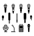 Microphone types black icons set vector image