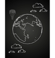 Childish drawing of a globe in chalck vector image