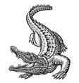 Crocodile Hand drawn ethnic patterns Alligator vector image