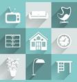 Interior furniture icons set vector image