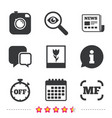 photo camera icon manual focus and macro signs vector image