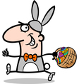 man in easter bunny costume cartoon vector image