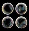 transparent soap bubble set black background vector image