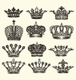 set of vintage royal crown vector image