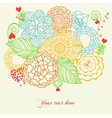 flowers and hearts love card vector image