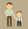 Happy father and son smiling and holding their vector image vector image