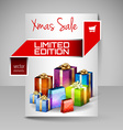 Brochure Design Template with Red Christmas Gifts vector image vector image