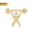 Gold glitter icon of heavy athletics vector image