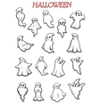 Eerie flying Halloween ghosts and monsters vector image