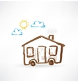 house with wheels grunge icon vector image