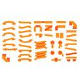Set of beautiful festive colored orange ribbons vector image