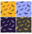 set of seamless bat pattern for halloween vector image