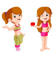 two girl diet holding apple vector image