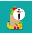 woman dumbbell exercising healthy food bag vector image