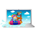 Computer screen with boy on water slide vector image