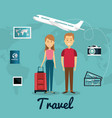 persons with suitcase travel vector image